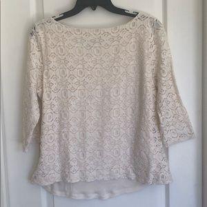 Banana republic cream blouse size 14